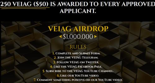 VEIAG空投250个VEIAG,价值 50 USD